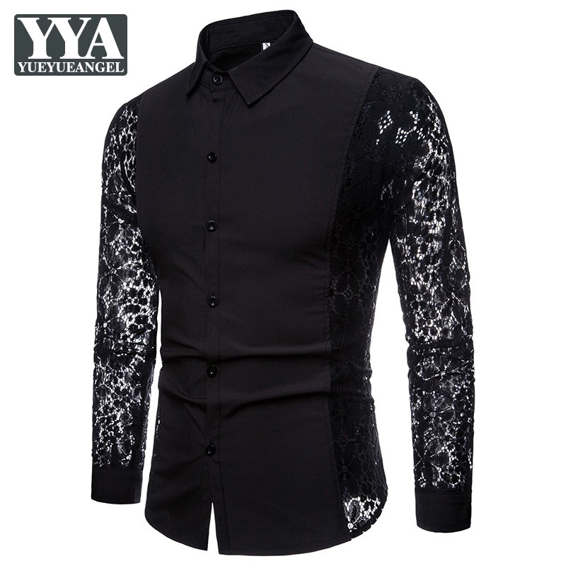 Designer Tuxedo Shirts Men Lace Long Sleeve Slim Fit Turn-Down Collar Classic Solid Color Black White Shirts Mens Casual Tops
