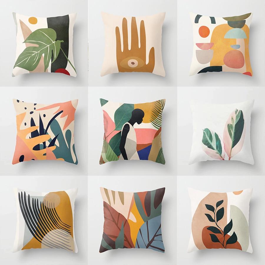 Pillowcase 45 45CM Simple Nordic Abstract Geometric Portrait Pillowcase Home Sofa Decoration Pillow Cushion Cover