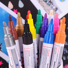 12PCS Waterproof Colorful Permanent Paint Marker Oily Marker Pens Stationery Writing Tools School Office Supplies 1pcs colorful diy metal waterproof permanent paint marker pens graffti oily sharpie drawing manga school supplies wholesale