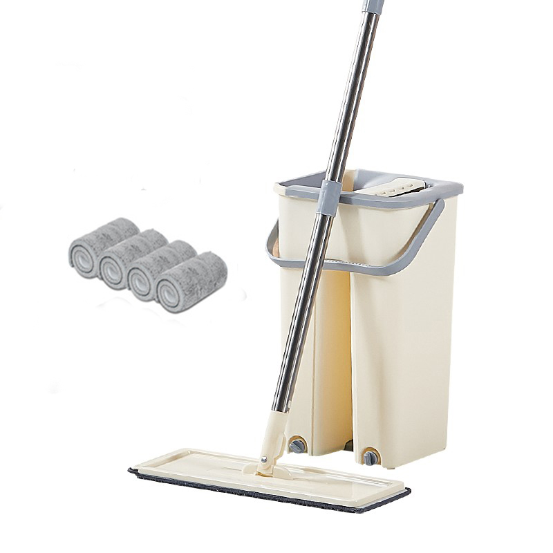 Hands Free Mop with Bucket 360 Rotating Flat Mop  Home Kitchen Floor Mop Lazy Mops Household Cleaning Tool