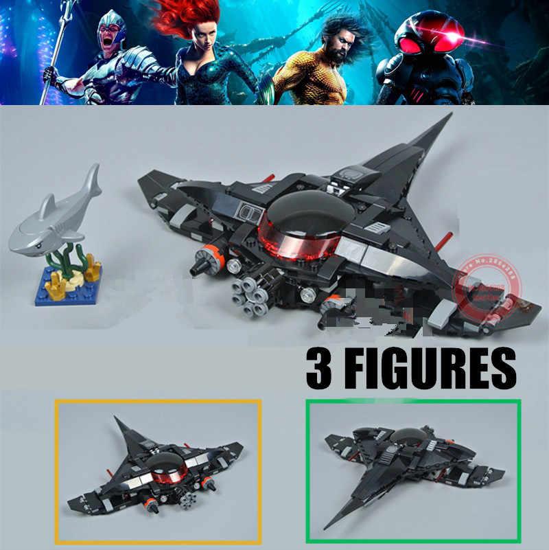 Novo preto luta manta super heróis dirigível justic aquaman league ajuste legoings figuras 76095 bloco de construção tijolo brinquedo do miúdo presente