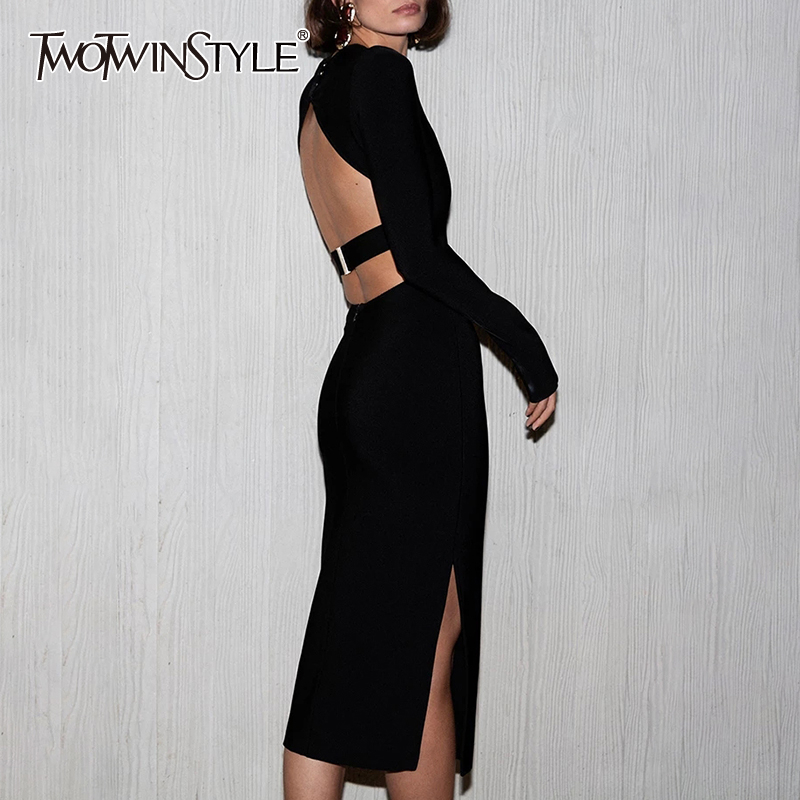 TWOTWINSTYLE Sexy Hollow Out Womens Dress O Neck Long Sleeve Backless High Waist Side Split Midi Dresses Female 2020 Clothes New
