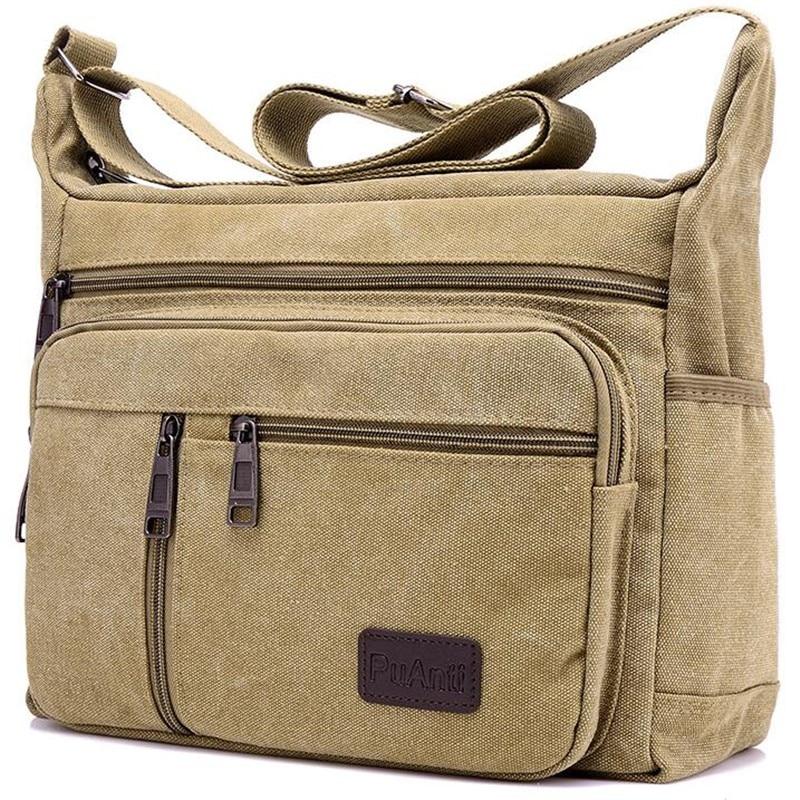 Erkekler tuval omuz çantaları Casual Tote seyahat erkek Crossbody çanta lüks postacı çantası moda yüksek kaliteli çanta