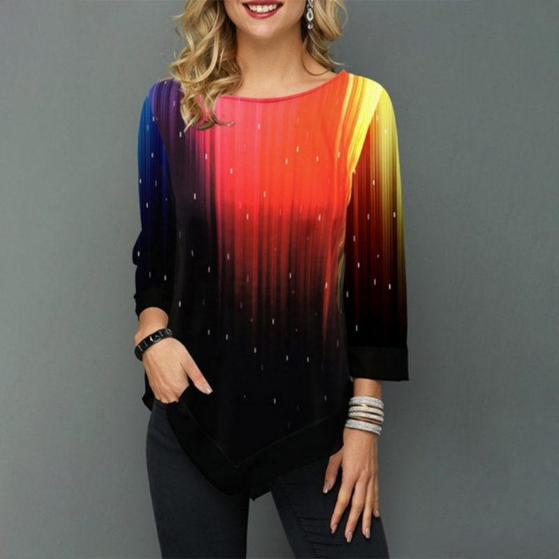 Plus Size 5XL 3/4 Sleeve Women's Tunic Blouse Spring 2020 Summer Print Irregular Hem Ladies Tunics Casual Female Blouses Tops