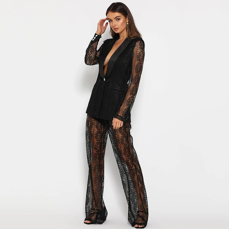 2020 New Black Hollow Out Sexy Lace Tracksuit Women 2 Piece Set V Neck Blazer Suits Wide Legs Long Pants Office Lady Outfits