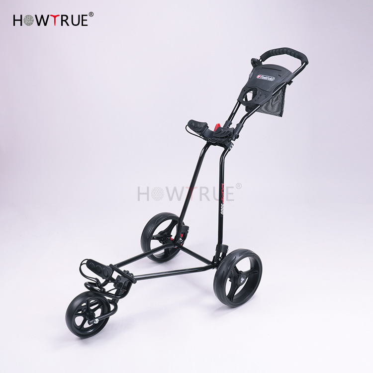 Golf Push Cart Swivel Foldable 3 Wheels Pull Cart Golf Trolley With Umbrella Stand Golf Cart Bag Carrier Carros De Golf