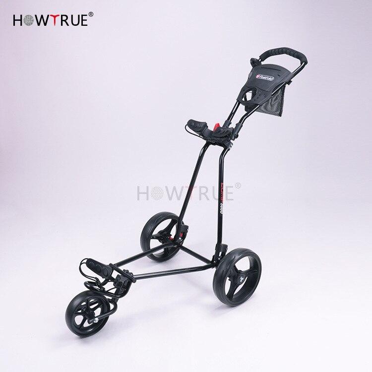 Golf Push Cart Swivel Foldable 3 Wheels Pull Cart Golf Trolley With Umbrella Stand Golf Cart Bag Carrier Carros De Golf