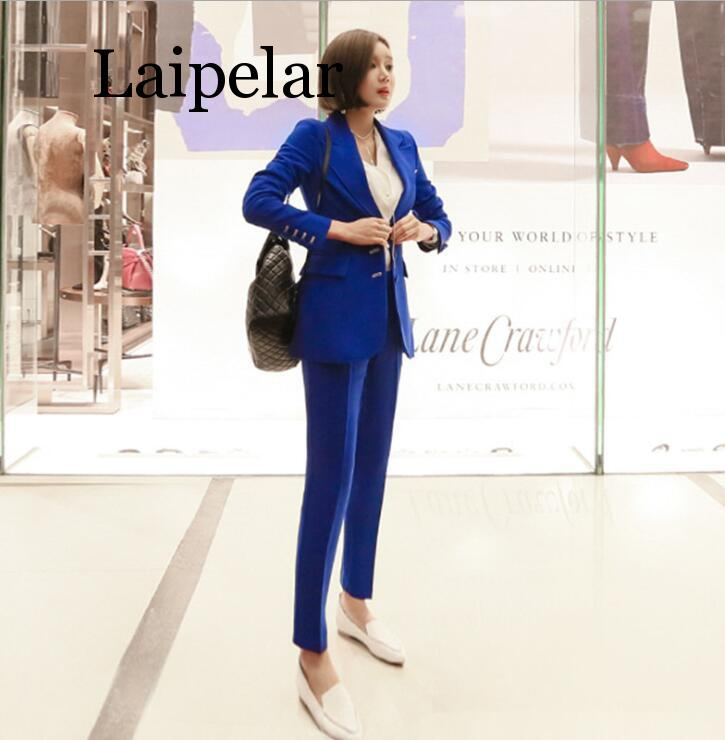 2019 New Fashion Blue Suit Office Lady Two Piece Sets Korean Business Attire Occupation Blazers Sets With Nine Pants Women Suits