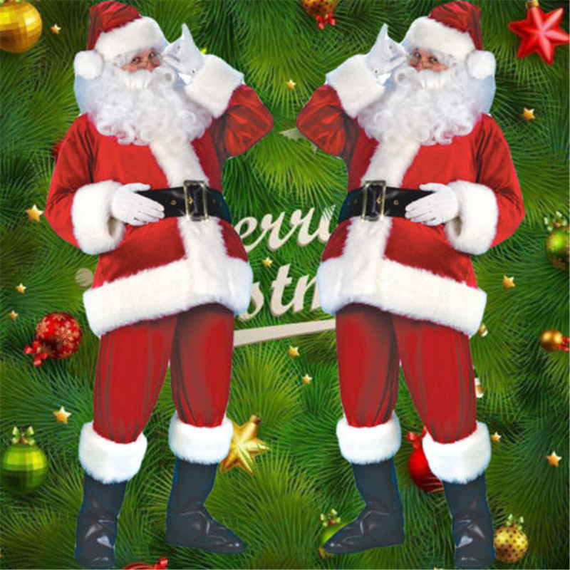 5Pcs Christmas Santa Claus Costume Cosplay Fancy Dress Adult Suits Cosplay Outfits Men Costume Suit For Adults Plus Size No Boot