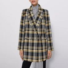 za autumn winter Women long sleeve tweed plaid jacket yellow casual lady coat ov