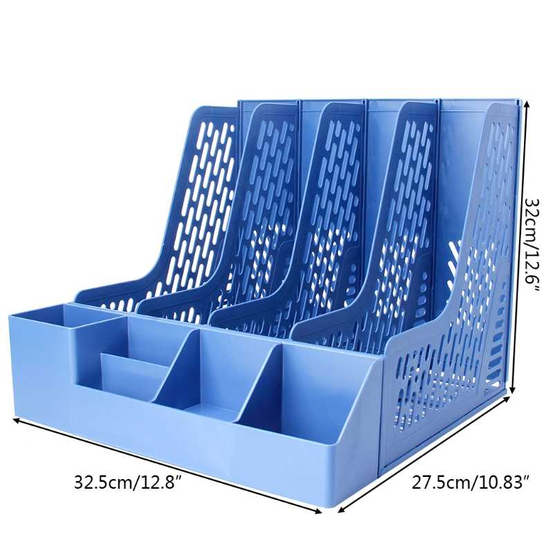 4 Sections Desktop File Rack Paper Book Hold Office Document Tray Organizer Box