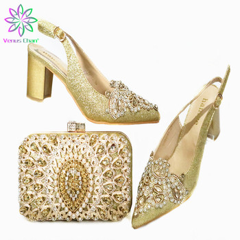 Mature Women Shoes and Bag Set in Heels Comfortable Lady Shoes and Bag Set in Gold Color New Design African Style for Wedding