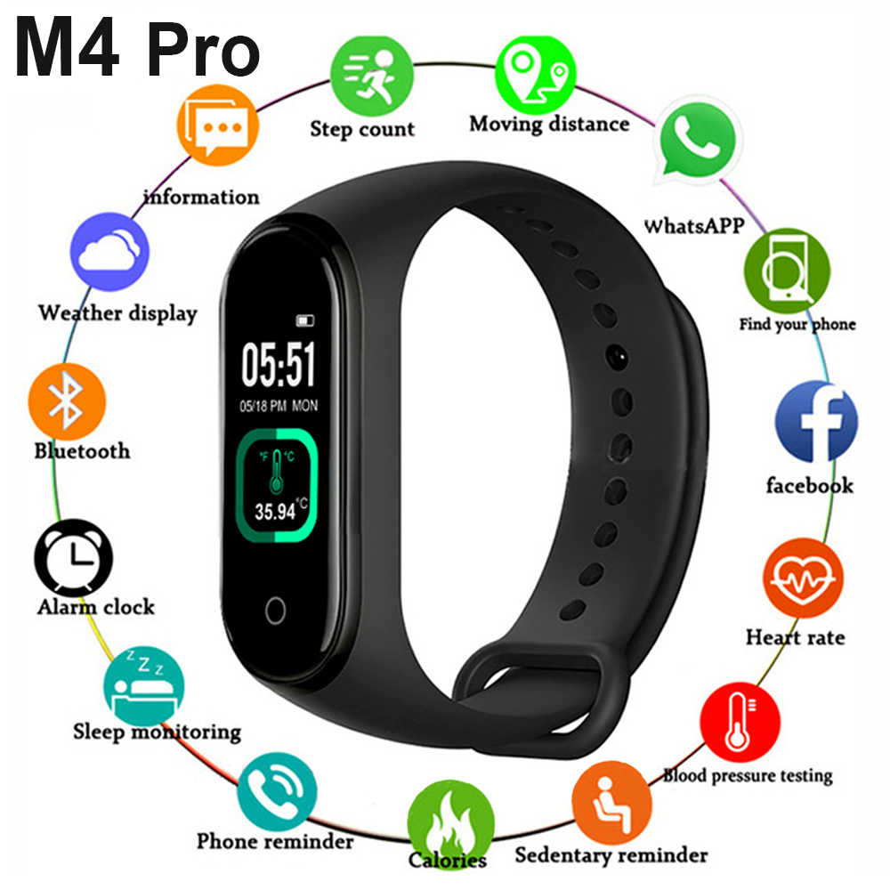 2020 M4 Pro Smart Band Thermometer Band 4 Fitness Tracker Hartslag Bloeddruk Fetes Armband Smart Horloge Voor Android ios