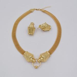 Image 3 - Nieuwe Ontwerp Hoge Kwaliteit Ltaly 750 Goud Kleur Sieraden Voor Vrouwen Afrikaanse Kralen Jewlery Mode Ketting Set Oorbel Sieraden
