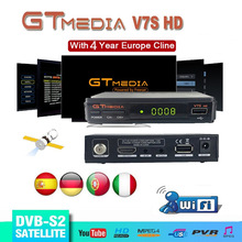 DVB S2 Gtmedia V7S HD Satellite TV Receiver 1080P HD Receptor Freesat v7 hd with USB WIFI support Europe cline for 4 Years Spain