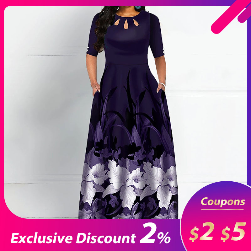 Elegant Round Neck Boho Print Long Midi Dress Black & Purpel
