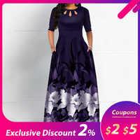 Femmes col rond Boho robe demi manches femme élégant vintage à fleurs imprimé une ligne poche noir maxi robes robe femme 2020