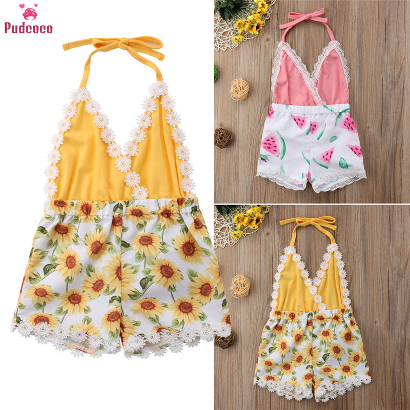 Summer Newborn Toddler Baby Girl Romper Halter Printing Floral Lace Jumpsuit One Piece Sunsuit Kids Girls Clothes 1-4T