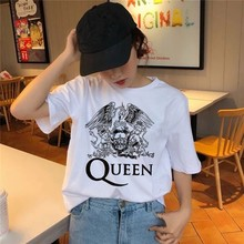 Freddie Mercury The Queen Band T-Shirt Women Hip Hop Retro Rock Hipster T Shirt Vintage Female Casual Tops Cute Cool Girl Tees