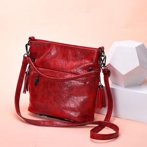 Image 3 - Soft Retro Tote Oil Leather Bucket Sac Luxury Handbags Women Bags Designer Ladies Shoulder Crossbody Hand Bags for Women 2020