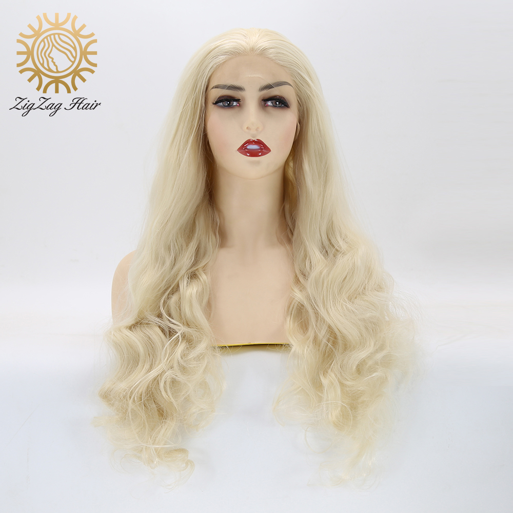 ZigZag Platinum Blonde Wig Wavy Glueless Synthetic Lace Front Wigs Natural Hairline 613 Bleach Blonde Daily Wig for White Women