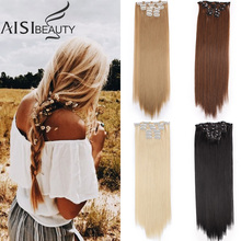 AISIBEAUTY Long Straight Hair Extensions Synthetic Clips in Hair Extensions 16 Clips/Set Hairpin Hair for Women Omber Blonde