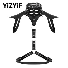 Gothic Belts Harness-Belt Crop-Top Punk Yizyif Rave Faux-Leather Black Male Mens Costume