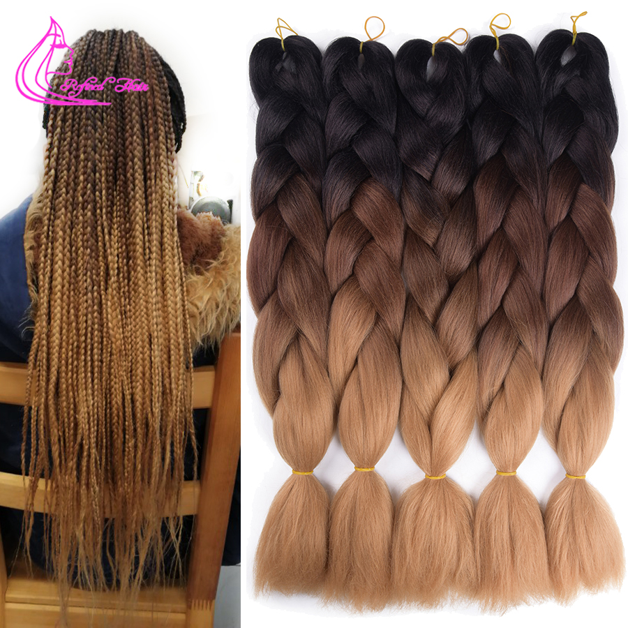 Refined Hair 24Inch Jumbo Braids Ombre Crochet Braid Hair 100Colors Ombre Synthetic Expression Braiding Hair Extensions