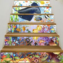 6pcs/set 3D Undersea Animal Staircase Stair Riser Floor Sticker Self Adhesive DIY Stairway Waterproof PVC Wall Decal Home Decor undersea fishes stair riser stickers