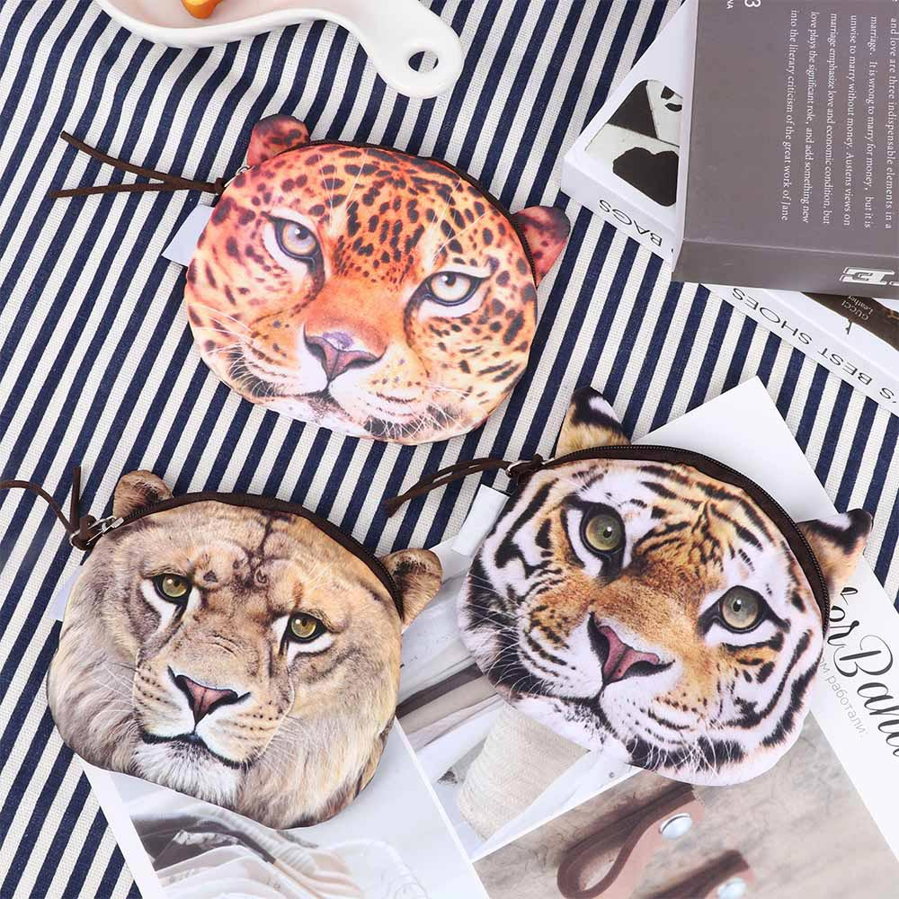 New Cute Women Purses Cartoon Image Tiger Lion Leopard Plush Wallet Casual Creative Coin Bag Purse Cloth Gift Wholesale