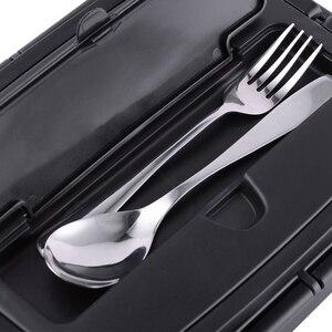 Image 3 - المحمولة 304 الفولاذ المقاوم للصدأ بينتو صندوق مع 3 مقصورات علب الاغذية مانعة للتسرب الميكروويف التدفئة الغذاء الحاويات أدوات المائدة الكبار
