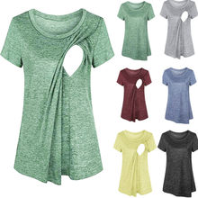 Nursing Clothes Casual Loose Maternity Breastfeeding T Shirt Ladies Tops Summer Pregnancy Clothes Pregnant Women Casual Maternal T-shirt(China)
