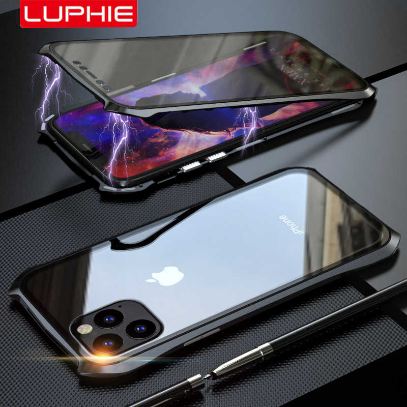 LUPHIE For iPhone 11 XI 2019 Bat Style Slim Metal Frame Anti-explosion Tempered Glass Full Body Case With Magnetic Adsorption