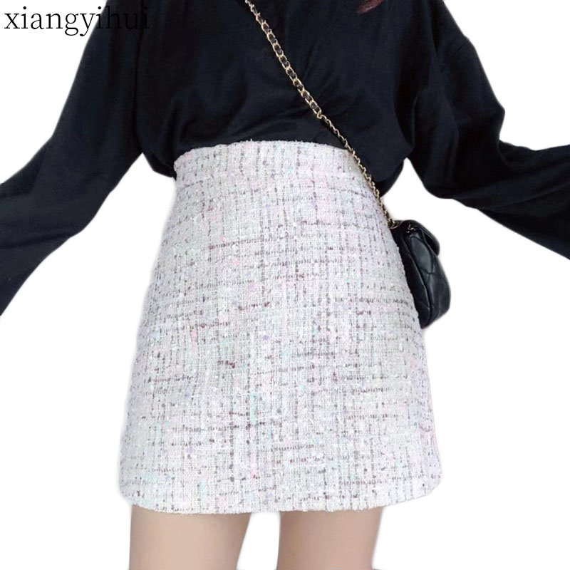Fashion Winter Women Tweed Skirt Plus Size Skirts For Womens 3XL 4XL 2019 New Korean Style Vintage Bottoming A-line