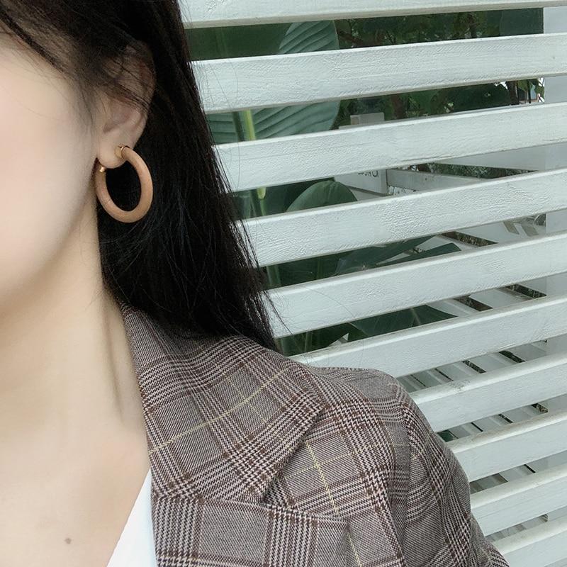 AENSOA Unique Design C-type Wooden Drop Earrings for Women Ethnic Geometric Wood Statement Earrings Fashion Jewelry Gift