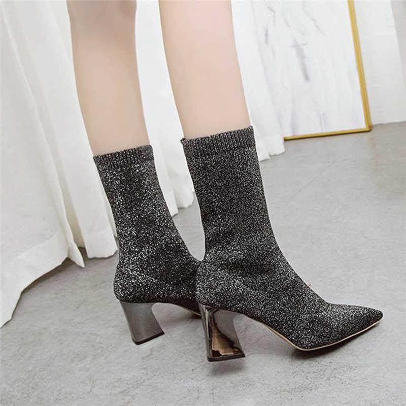 BONJOMARISA Venta caliente añadir calcetines de piel botines de mujer de fiesta de moda de punta estrecha tobillo elástico botas de mujer 2019 zapatos de tacón alto mujer