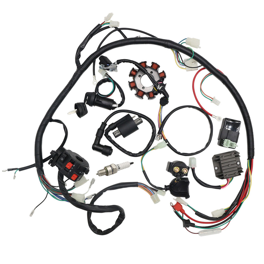 Complete Wiring Harness kit Wire Loom Electrics Stator Coil <font><b>CDI</b></font> for <font><b>ATV</b></font> <font><b>Quad</b></font> 4 Buggy 150CC <font><b>250CC</b></font> Go Kart Dirt Pit Bikes image