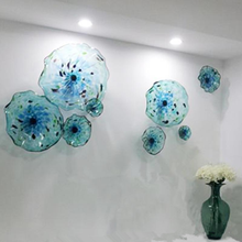Italian Style Murano Flower Glass Plates Wall Arts Blue Color Luxury 100% Hand Blown Hanging Scallop Edges Shape
