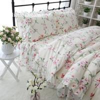 Princess style bedding set garden print ruffle duvet cover set 100 cotton bed sheet flower home textile girls king size HM 09F