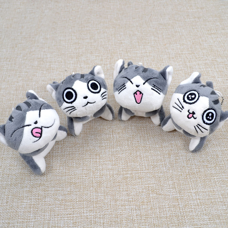 1Pcs Cute Cartoon Rich Expressions Gray White Elf Cat Plush Key Chain Decoration Toys Vibrant Happy Smiling Faces Small Pet Toys