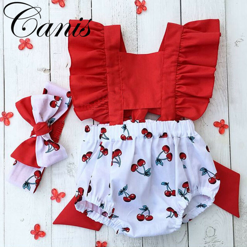 Kids Newborn Baby Girls Romper Hollow Out One-Pieces Headband Jumpsuit Outfit
