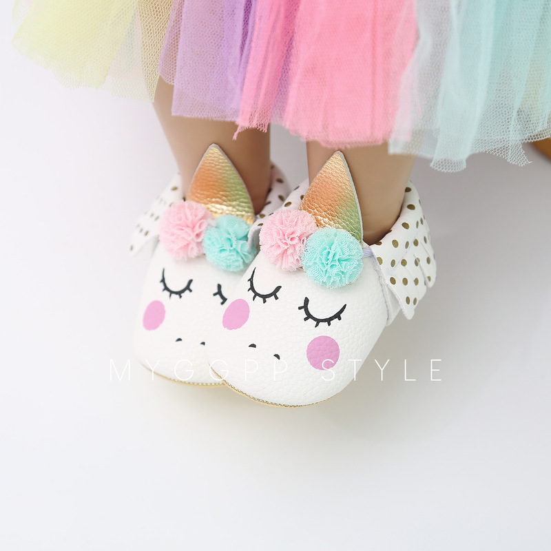 Newborn Baby Shoes Girls Boy First Walker PU Anti-slip Princess Unicorn Fringe Fuzzy Ball Bowknot Toddler Crib Shoe Moccasins