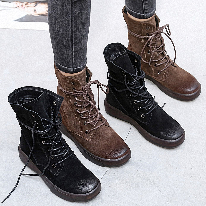 PEIPAH Handmade 2020 Winter Snow Boots Women Genuine Leather Shoes Woman Rubber Ankle Boots Female Retro