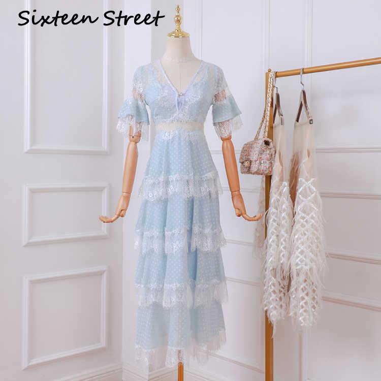 2020 新夏ビーチドレス女性半袖 v ネックブルーレースマキシドレス女性滑走路デザインホワイトロングパーティー vestido
