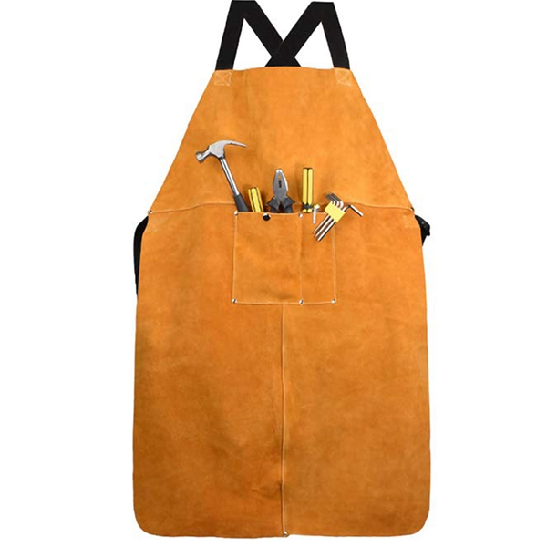 BMBY-Leather Welding Apron, Leather Welding Work Apron Heat Resistant & Flame Resistant Bib Apron, Heavy Duty Tools Shop Work Ap