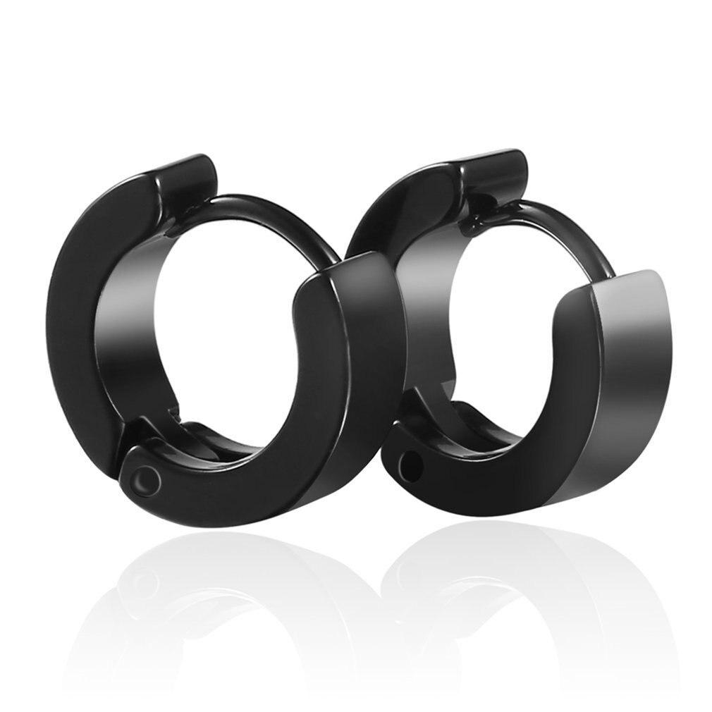 Pair Unique Punk Style Cool Mens Stainless Steel Round Hoop Piercing Studs 15mm Earring Piercing Jewelry