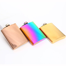 Stainless Steel 8Oz Hip Flasks Outdoor Portable Rainbow Colored Flask Solid Color Wine Bottle Travel Drinkware fire maple portable titanium flagon outdoor hip flask camping wine pot jug with cup travel drinkware fmc 1703002