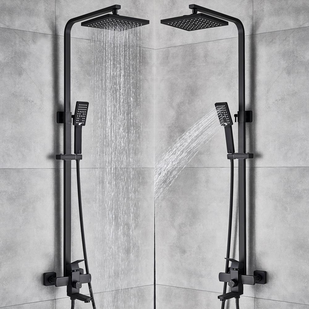 Uythner matinis juodas lietaus efekto dušo vonios maišytuvas 4