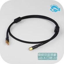 كابل إشارة حمى USB ألمانيا مطلي بالفضة سلك القائم على 2.0 كارت الصوت خط إخراج البيانات فك USB نوع إلى USB B نوع