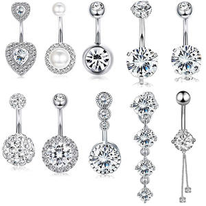 10 Styles Sexy Dangling Navel Belly Button Ring Oreja 14G Double Round Cubic Zirconia 316L Surgical Steel Belly Piercing Jewelry